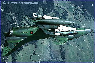 Royal New Zealand Air Force A-4K Skyhawk in a barrel roll